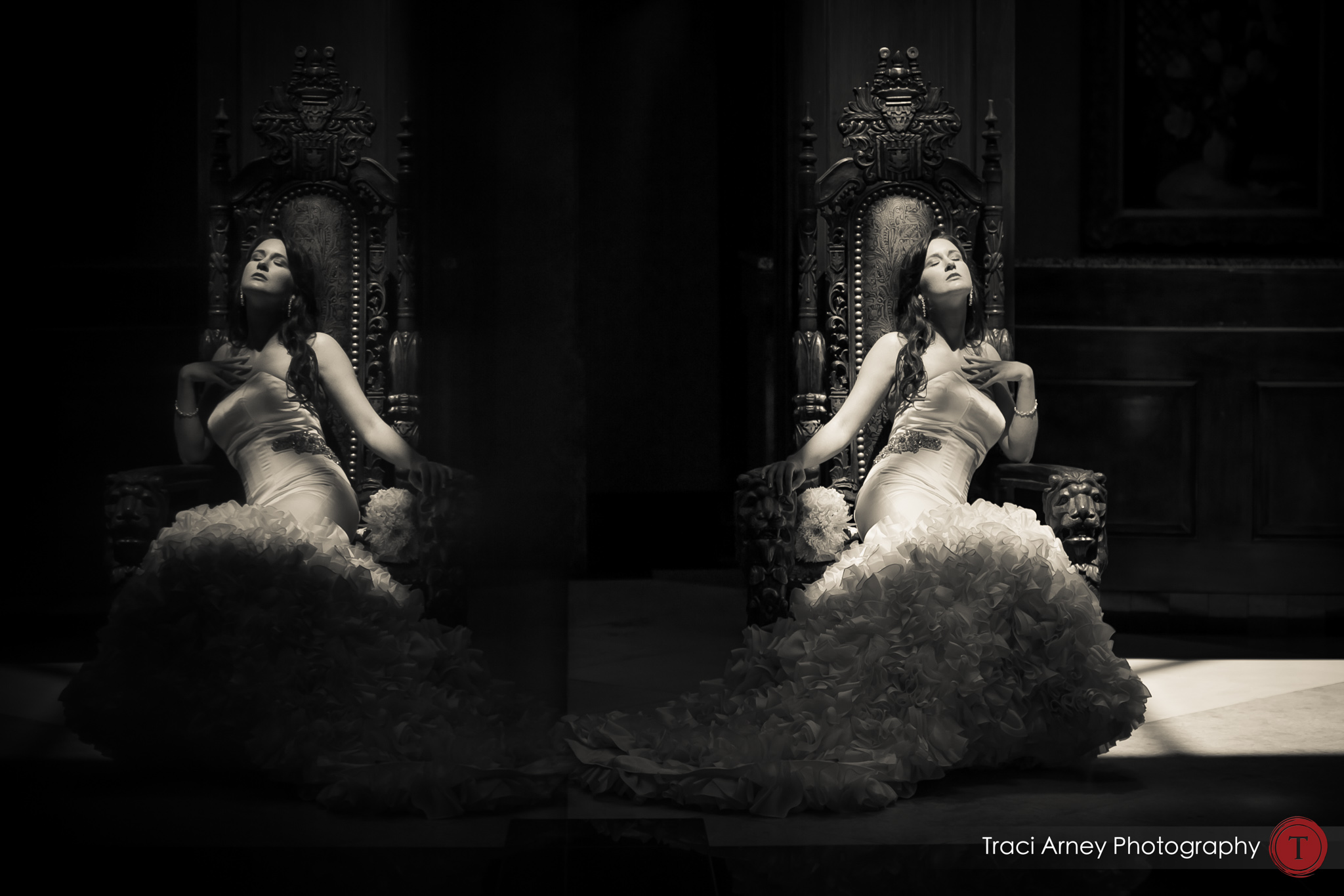 black and white double reflection bridal image in sunlight